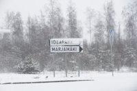 Ideaparkin ja marjamäen risteys talvella.