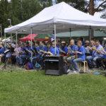 Narvan soittokunta loi markkinoille tunnelmaa musiikillaan.