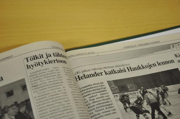 14.12.1995 Lempälän-Vesilahden Sanomat uutisoi LeKin voittaneen Ähtärin Kiekko-Haukat maalein 3-2.