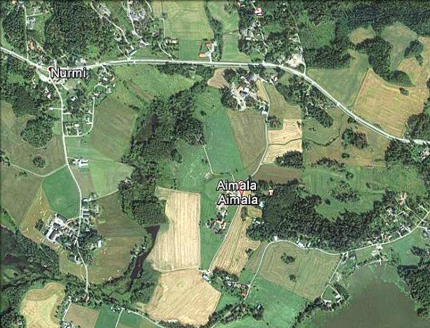 Aimalan kylää Google Earth -palvelun ilmakuvassa.