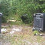 Vesilahden Rämsöön jätepiste on usein sotkuinen. Sinne on tuotu puretun auton osia, maaleja, sohvia, jääkaappeja, oksia/puun lehtiä(ne voisi polttaa), polkupyöriä jne.. sinne kuulumatonta. Nyt myös jäteastiat oli kaadettu. Kuva: Sini Rajala