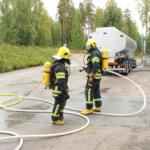 Kiilto Oy:llä oli pelastuslaitoksen ja yrityksen yhteinen onnettomuusharjoitus keskiviikkona 20,.syyskuuta. Kuva: Erkki Koivisto