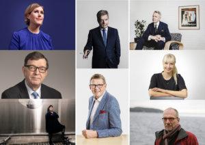 Laura Huhtasaari, Matti Vanhanen, Merja Kyllönen, Nils Torvalds, Paavo Väyrynen, Pekka Haavisto, Sauli Niinistö, Tuula Haatainen, Presidentinvaalit 2018
