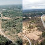 Ilmakuvapari Vuoreksesta 1993 ja 2017. Kuva: Juha Suonpää