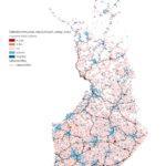 Tässä kartassa näytetään väestönkehityksen ja liikenneyhteyksien merkitystä 5x5 km:n ruuduissa vuosina 2005-2017. Siniset ruudut kuvaavat kasvua, punaiset supistumista ja valkoisissa ruuduissa ei ole tapahtunut muutosta tai ne ovat olleet autioituneita.