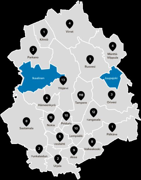 Pirkanmaan ehdokkaat kartalla