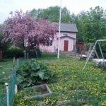 Vaaleanpunainen talo sointuu ympäristöönsä