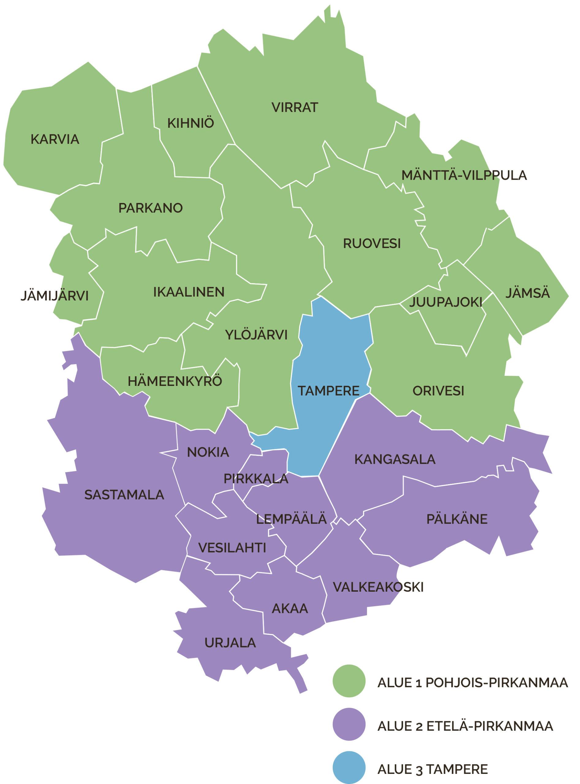 Kartta Pirkanmaa