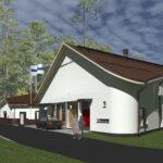 """Sääksjärven seurakuntatalo rakentuu piikkipaikalle – Rakennuksessa on ikkunoita epäsymmetrisesti, pyöreitä kulmia ja """"maailman pienin laitoskeittiö"""""""